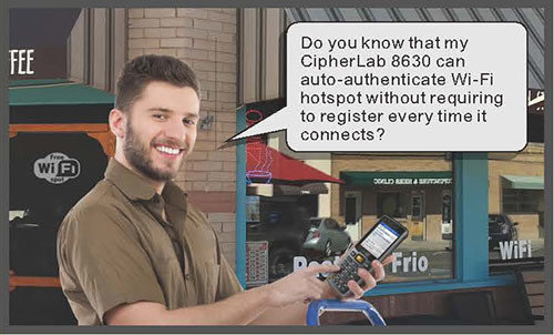 CipherLab 8630 can auto-authenticate Wi-Fi hotspot without requiring to register